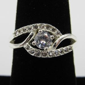 Vintage Size 6 Sterling Rustic CZ Diamond Ring